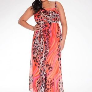 Igigi Maxi Rene Dress Animal Print Chiffon Sexy